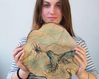 Hummingbird Print, Woodland animals, Bird Print, Rustic wall art, Country home decor, Wood sign, Wood slice art, Gift For Her