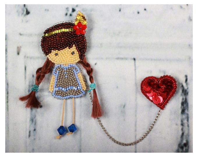 Featured listing image: I love you,  Czech  Beaded Brooch, Girl and heart,  Red Heart, ittle girl,  best friend's gift, valentine's gift, beaded Pin, Bohemian Gift