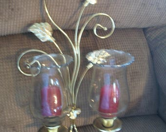 Vtg Spiral Leaves shiny gold metal double sconce w 2 etched glass votive and maroon candles Home Interior Candle sconce picture accent