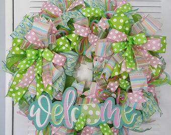 Easter wreath, Spring wreath, welcome wreath, 28in. Wreath, deco mesh Easter wreath,,