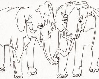 Elephant Lovers: Line Drawing (print) Paint Babies