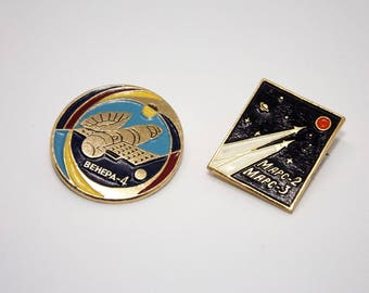 Vintage collectible space pins - Space enamel pin set - Vintage cosmonautics pins - USSR space badges - Vintage astronomy enamel badges