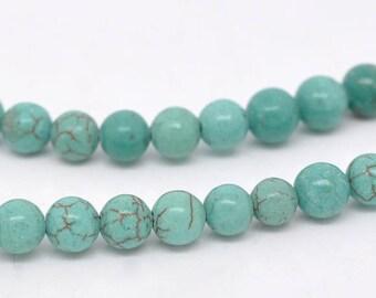 25 beads 6mm imitation turquoise dyed howlite