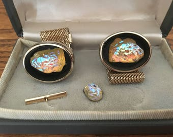 Lamode Iridescent Yellow Lava Glass with Gold Mesh Wrap Cufflinks and Tie Tack Set 1276
