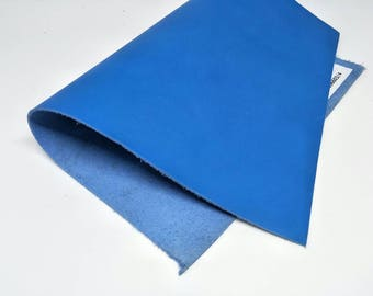 "Leather Scrap, Genuine Leather, Leather Pieces, Cobalt Blue, Size 8.25"" by 11.5""  Leather Scrap for DIY Projects."