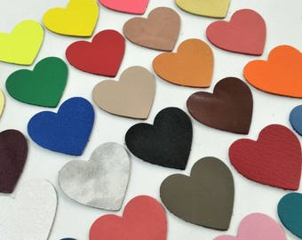 Leather Hearts, 40 mm. (4 cm.), 50 Pcs., Mixed Colors, Leather Hearts Die Cut, Hearts Shape, Hearts Style, Hearts Die Cut, Leather Tags.