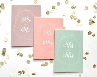 5/pk wedding card, coral, mint, taupe, pastel, handmade, personalised, typography