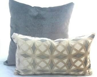 "Grey Velvet Geometric Lumbar Cushion Cover. Fits a 12""x 18"" pillow insert. Grey Beige White Decorative Pillow."