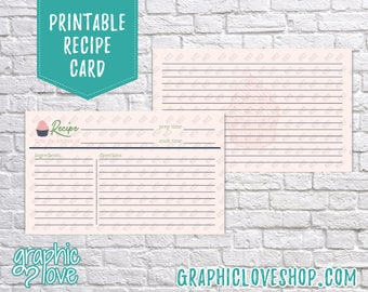 Printable 3x5 Double Sided Cupcake Recipe Card   Dessert, Pasteries, Sweet, Baking   Digital JPG Files, Instant Dowload, File NOT Editable