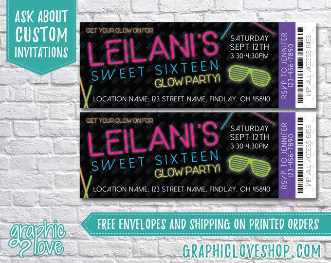 "Featured listing image: Sweet 16 Glow in the Dark/Neon Ticket Birthday Party Invitations 5.5""x2"" 