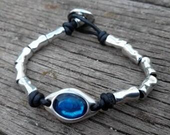 50 style one, blue stone leather bracelet
