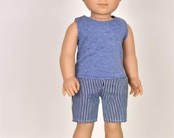 18 inch Boy Doll Clothes Tank Top Heather Blue