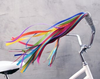 Streamers for your Bike, Trike, or Scooter Handlebars - Retro, Cool & Handmade - Rainbow Galaxy