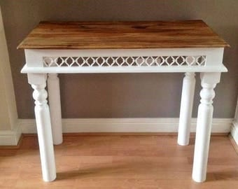 Solid Wood Table. Hall Table. Side Table. End Table. Hand Painted White. Refurbished