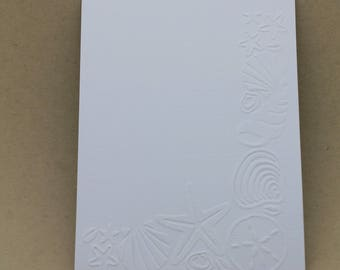 5 embossed cards - embossed and shellfish