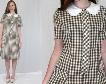 Vintage 60s Brown White GINGHAM White Peter Pan Collar Lace Retro Day Dress M