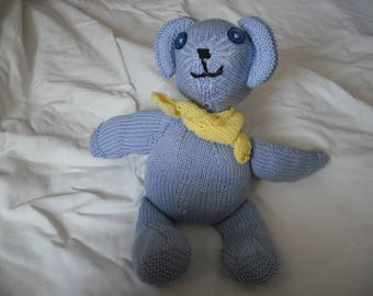 lovely little bear made with needles with blue cotton