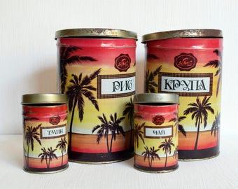 Soviet Vintage tins Set of 4 Kitchen decor Soviet vintage tin boxes Canisters for kitchen Metal canister