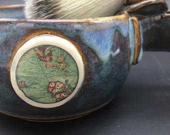Shave mug, shave set, pottery, blue, nautical, razor, soap, brush