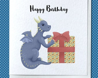 Cute Dragon with Present Birthday Card - Customizable/Personalised Option