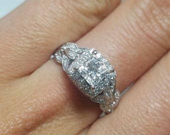 14K White gold and Diamond ring, Bridal ring, Diamond ring, and Engagement ring..
