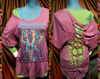 Soft stretchy cut up oversized tshirt top tee weaved braided shirt or mini dress