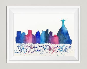 Rio de Janeiro Skyline, Original Watercolor Painting Travel Illustration, Print, Illustrator, Wall art, Home Decor, Handmade, Holiday Gift