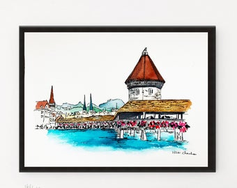 Switzerland, Lucerne print, City art print, Illustration, Watercolor art, Travel art, Modern art, Printable art, Art poster, Travel poster