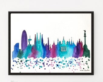 Barcelona Skyline, City art, Watercolor Painting, Travel Illustration, Art Print, Cityscape art, Modern Wall art, Home Decor, Holiday Gift