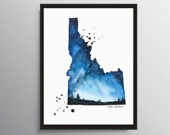 Idaho Map, State map, Map print, Map poster, Watercolor Painting, Illustration, Galaxy art, Travel Print, Long Distance art, Starry Night