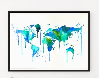 Watercolor World Map, Map art, Map print, World Map, Watercolor Painting, Illustration, Travel art, Art Print, Map gift, Niks Paint Gallery