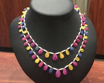 Sapphire, Ruby & Pearl Vintage Double Strand Necklace with Gold and Diamond Clasp