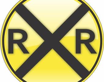 "RailRoad Crossing 8"" Circle Aluminum Metal Sign Aluminum Metal Sign"