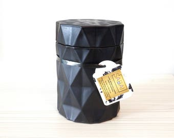 Soy Candle Matte Black Diamond Jar Scented Gold Rose Petals