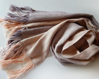 Handwoven linen cocoa scarf, stripped scarf, brown scarf, handwoven coffee wrap, womens scarf, linen wrap, summer scarf, brown wrap
