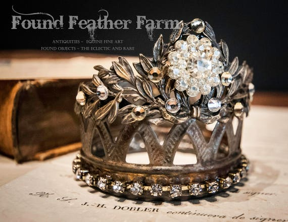 Handmade Brass and Tin Crown with an Acanthus Leaf Flourish and Vintage Rhinestones
