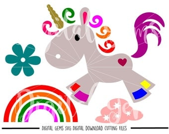 Unicorn svg / dxf / eps / png files. Digital download. Small commercial use ok.