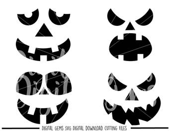 Pumpkin Face Fall / Autumn Halloween svg / dxf / eps / png files. Digital download. Compatible with Cricut and Silhouette machines.