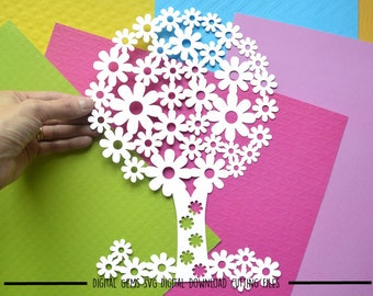 Flowering tree paper cut svg / dxf /eps files and pdf / png printable templates for hand cutting. Digital download. Small commercial use ok