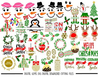 Christmas bundle svg / dxf / eps / png files. Digital download. Compatible with Cricut and Silhouette machines. Small commercial use ok.