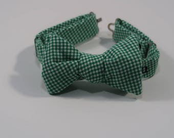 Kids Soft Cotton Green Mini Houndstooth Bow Tie