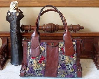 Back To School Sale Fossil Floral Carpet Bag With Brown Leather Trim And Antique Brass Hardware- VGC
