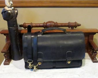Spring Sale Coach Prescott Briefcase In Black Leather With Brass Hardware - Style No. 5275- Made in United States- Slightly Distressed