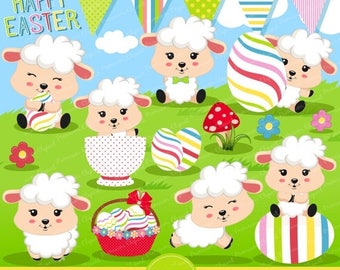 80% OFF SALE Easter clipart commercial use, Easter lamb clipart, Lamb clipart, Easter clip art, cute Easter graphics - CA360