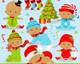80% OFF SALE Christmas baby clipart commercial use, christmas baby clipart, christmas baby, african american baby - CA278
