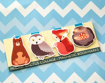 Magnetic Bookmarks - Fox gift - Animal Bookmarks - Planner Accessories - Page Marker -  travel bookmark - Owl bookmark - Bear Bookmark