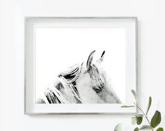 Horse Print, Horse Art Print, Horse Home Decor, Horse Art, Gift for Horse Lover, Grey White Wall Art, Horse Painting, Horse Wall Decor