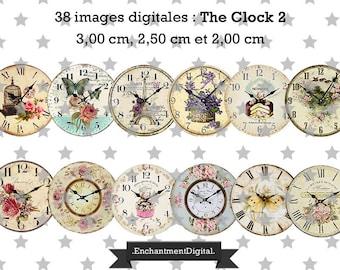 digital images * clock * clock hour time flower collage digital scrapbooking cabochon jewel