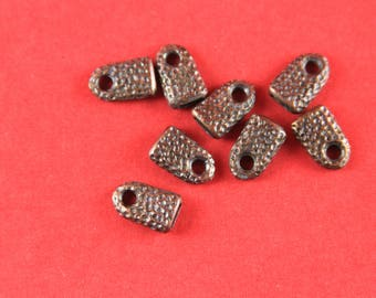 6/6 MADE IN EUROPE 2 cord ends, leather cord ends, copper cord ends, flat leather cord clasp, 5mm flat cord ends, (X5852AC) Qty2
