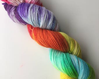 Rainbow Hand Dyed 4ply Merino Nylon Sparkle Platinum Sock Rainforest